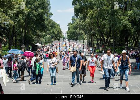 MEXICO CITY, Mexico - A wide pedestrian boulevard leading into Basque de Chapultepec, a large and popular public - Stock Photo