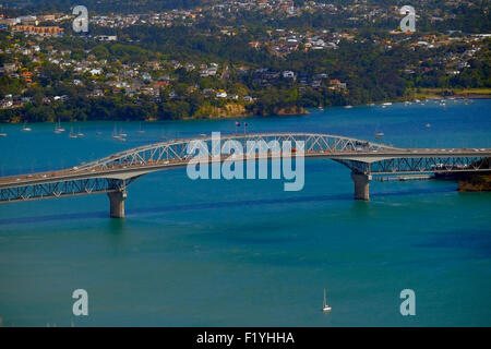 View from Auckland Sky Tower New Zealand, NZ, North Island - Stock Photo