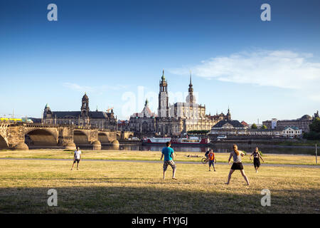 View over river into the Old Town of Dresden, Altstadt, Saxony, Germany, Europe - Stock Photo