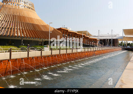 Milan, Italy, 12 August 2015: Detail of the Thailand pavilion at the exhibition Expo 2015 Italy. - Stock Photo