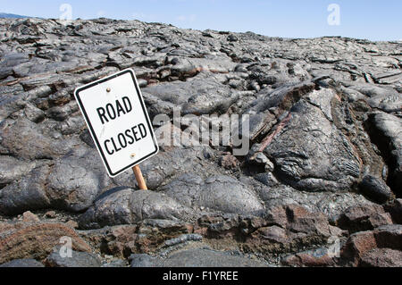 Lava flow and road sign on Chain of Craters Road, Big Island, Hawaii - Stock Photo