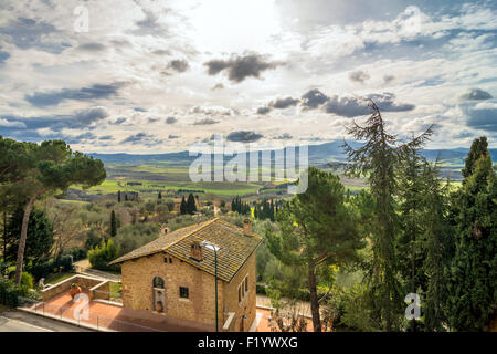 PIENZA, ITALY - January 25, 2015: panoramic view of Val d'Orcia valley from Pienza, Italy. In 2004 the Val d'Orcia - Stock Photo