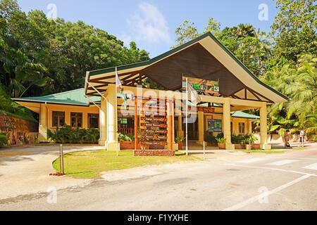 Entrance to the Vallee de Mai National Park, UNESCO World Heritage Site, Praslin Island, Seychelles - Stock Photo
