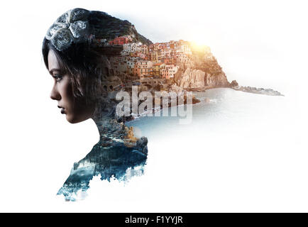 Double exposure portrait of a woman and view of Manarola - Stock Photo