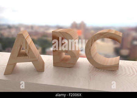 3d rendering of a wooden abc letters - Stock Photo