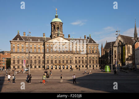the Royal Palace and Dam Square,  Amsterdam, North Holland, The Netherlands, Europe - Stock Photo