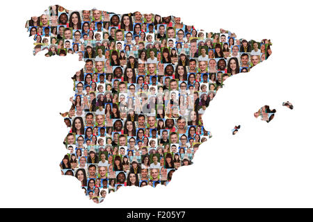 Spain map multicultural group of young people integration diversity isolated - Stock Photo