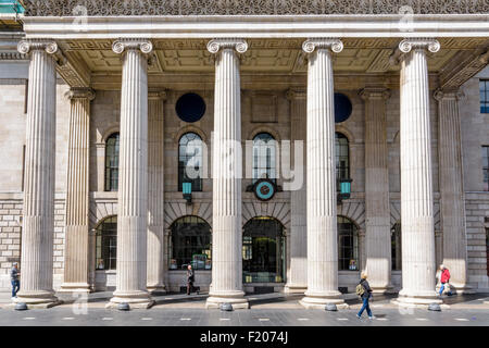 The portico of the General Post Office building O'Connell St Lower, Dublin, Ireland - Stock Photo