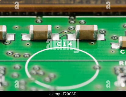 Macro Photo Of Printed Circuit Board Pcb Showing Yellow