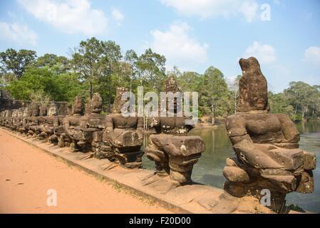 Statues at Angkor Wat, Siem Reap, Cambodia - Stock Photo