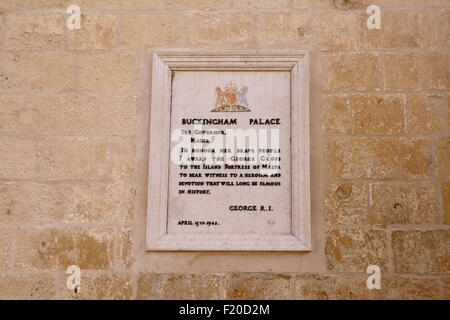 Malta, Valletta, Parliament Square, Plaque showing the award of George Cross by George VI. - Stock Photo
