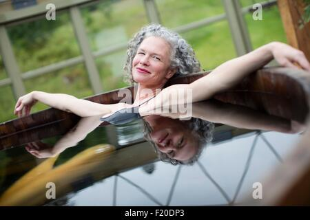 Woman Relaxing In A Hot Tub Stock Photo, Royalty Free Image ...