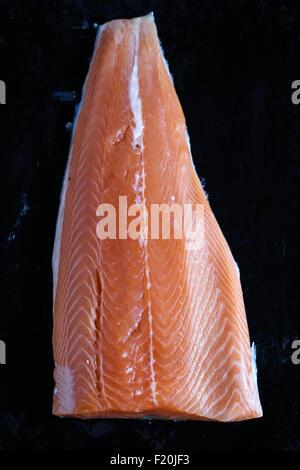 Raw salmon fillet closeup. - Stock Photo