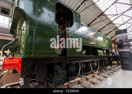 Great Western Railway 9400 is a 0-6-0 pannier tank steam locomotive. Museum of the Great Western Railway. Swindon - Stock Photo