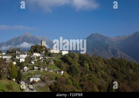 Switzerland, Graubunden, val Calanca, Santa Maria village in autumn - Stock Photo