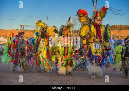United States, Arizona, Window Rock, Festival Navajo Nation Fair, young navajos wearing ceremonial clothes (regalia) - Stock Photo