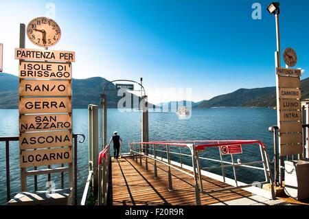 Switzerland, Lake Maggiore, Ticino, Locarno district, Brissago harbor - Stock Photo