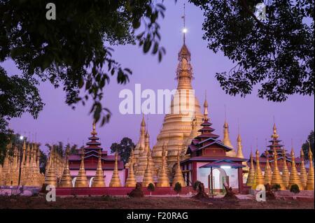 Myanmar (Burma), Shan state, Pa'O tribe, Hamsu, Maha Myatmuni pagoda - Stock Photo