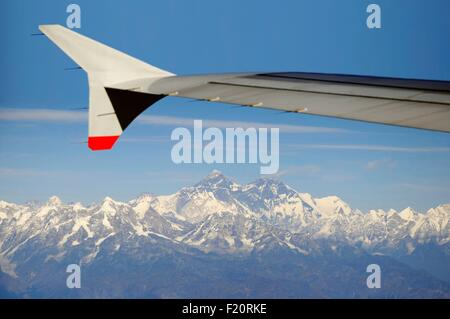 Nepal, view of the Everest range from the plane - Stock Photo