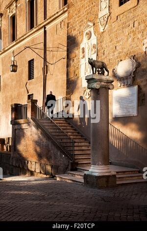 Italy, Latium, Rome, Piazza del Campidoglio, Historical Centre listed as World Heritage by UNESCO, Capitoline She - Stock Photo