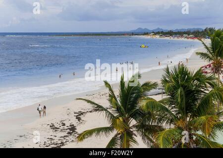 France, French West Indies, Saint Martin island, French side, beach of Orientale Bay, behind their Saint Barth island - Stock Photo
