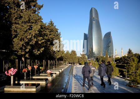 Azerbaijan, Baku, Martyrs' Lane (Alley of Martyrs), Eternal Flame memorial dedicated to those killed by the soviet - Stock Photo