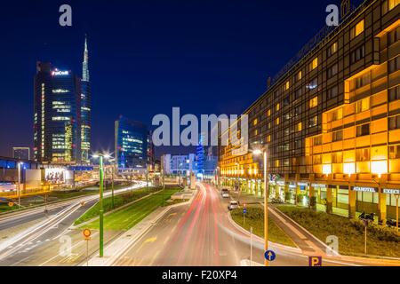 Italy, Lombardy, Milan, district of Porta Nuova and the tower Unicredit bigger skyscraper of Italy - Stock Photo