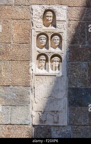 Italy, Lombardy, Milan, romanic sculptures on the door Porta Nuova street via Alessandro Manzoni - Stock Photo