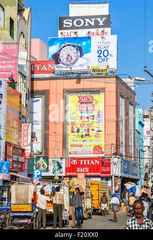 India, Tamil Nadu state, Madurai, Town Hall road - Stock Photo