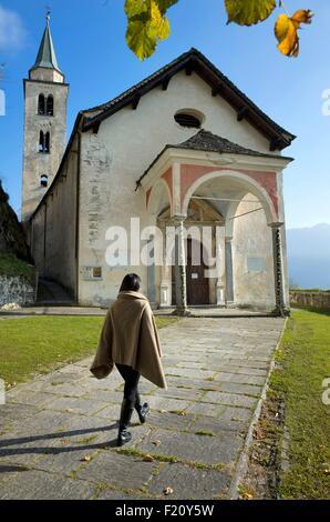 Switzerland, Graubunden, val Calanca, Santa Maria church (12th century) - Stock Photo