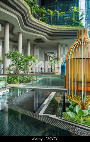 Singapore Park Royal Hotel; Singapore, Park Royal hotel by Woha  singapourian architectur studio - Stock Photo