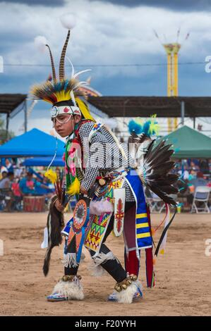 United States, Arizona, Window Rock, Festival Navajo Nation Fair, young navajo wearing ceremonial clothes (regalia) - Stock Photo