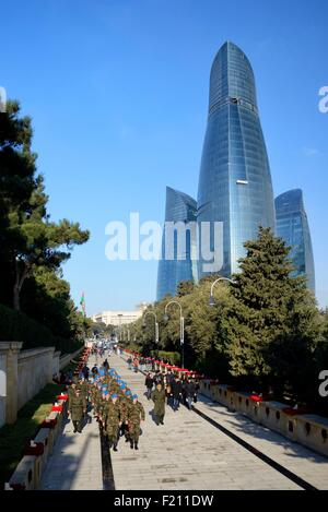 Azerbaijan, Baku, Martyrs' Lane (Alley of Martyrs), military ceremony during the 25th Martyrs' Day commemoration - Stock Photo