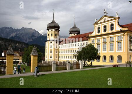 Austria, Tyrol, Stams, Overview of Cistercian abbey - Stock Photo