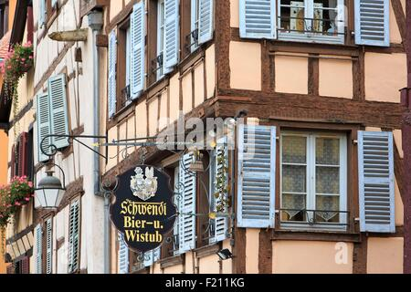 France, Haut Rhin, route des Vins d'Alsace, Colmar, half timbered houses on Grand Rue - Stock Photo