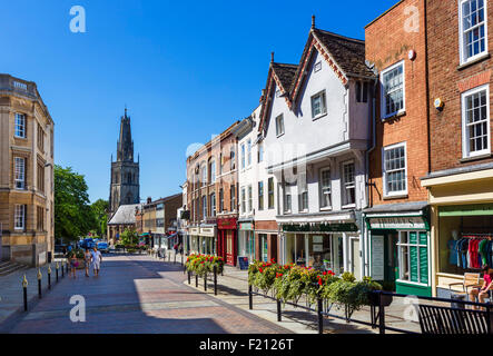 Westgate Street in the city centre looking towards St Nicholas church, Gloucester, Gloucestershire, England, UK - Stock Photo