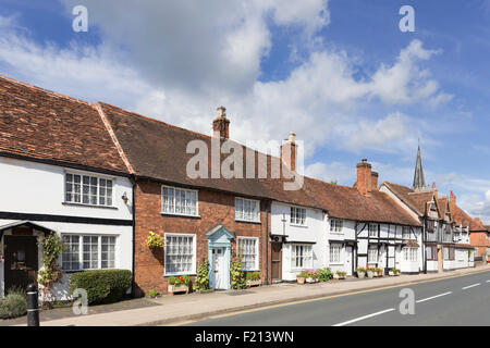 Attractive cottages line the high street in Henley in Arden, Warwickshire, England, UK - Stock Photo
