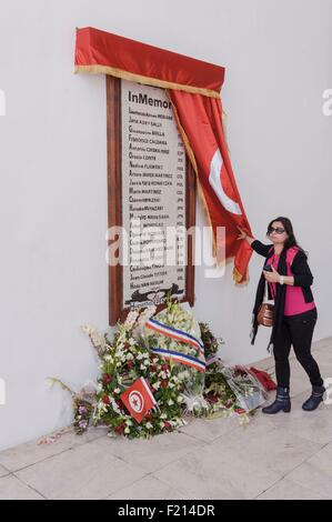 Tunisia, Tunis, National Museum of Bardo, memorial of terorism attack in 2015 february - Stock Photo