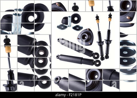 New car spare parts isolated on white background. Shock absorber, bushing rubber, mounting. Stock Photo