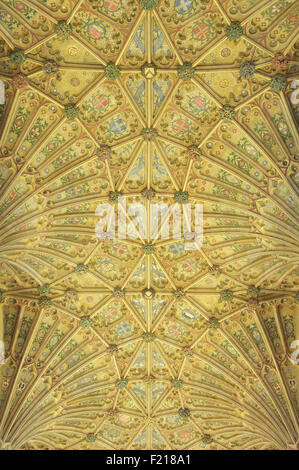 The ornately decorated Gothic fan vaulted ceiling of Sherborne Abbey with its colourful designs and symbols. Dorset, - Stock Photo