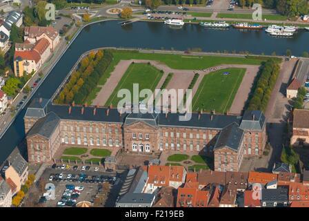 Aerial of saverne town with rohan castle alsace france for Piscine de saverne