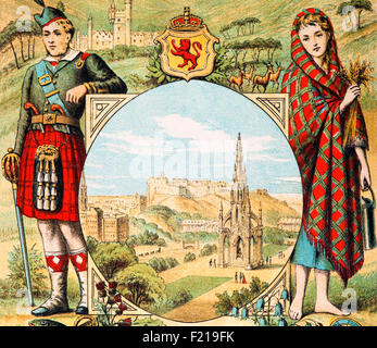 Highlander and Lassie in Traditional Costume, Scotland - Stock Photo