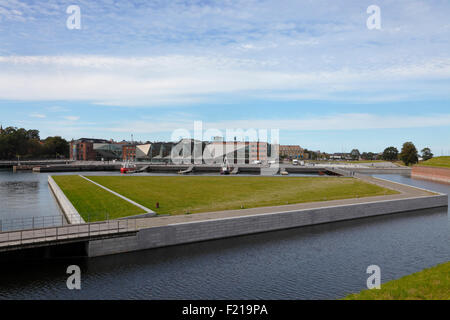The siting of the Culture Yard on the waterfront in Elsinore / Helsingør, Denmark, seen from the ramparts of Kronborg - Stock Photo