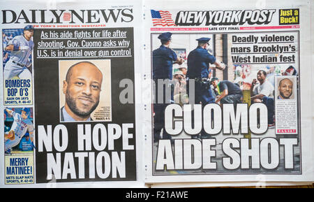 Front pages on Tuesday, September 8, 2015 of the New York Daily News and the New York Post report on the violence - Stock Photo