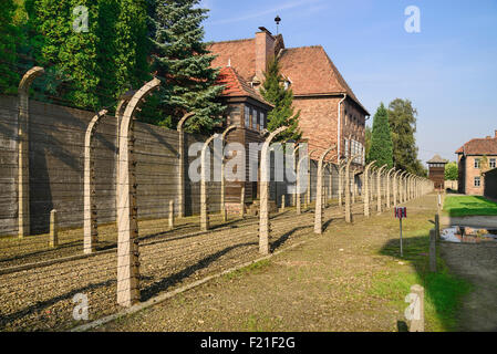 Poland Auschwitz-Birkenau State Museum Auschwicz Concentration Camp Perimeter barbed wire fencing and guard tower - Stock Photo