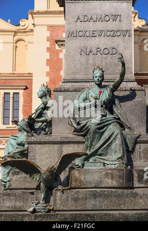 Poland Krakow Rynek Glowny or Main Market Square Allegorical figure of the Motherland on the pedestal of the Adam - Stock Photo
