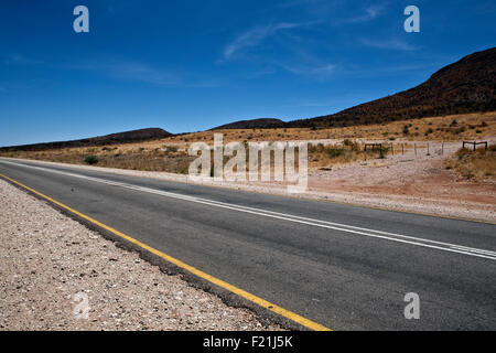 Main road from Windhoek to the north in Damaraland Namibia - Stock Photo
