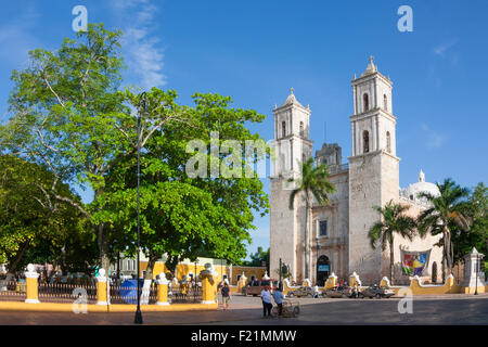 Cathedral of San Ildefonso in the central square Merida capital of Yucatan Mexico - Stock Photo