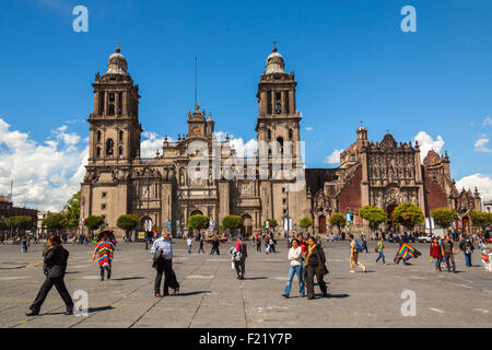 Metropolitan Cathedral Catedral Metropolitana Asuncion de Maria Plaza de la Constitucion Zocalo square Mexico City - Stock Photo