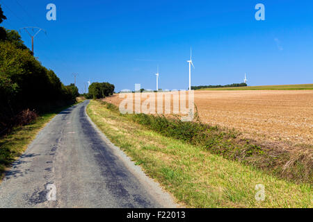 Wind turbines at Charentenay, Poitou Charentes, Charente Maritime, France - Stock Photo